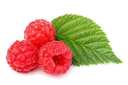 Fresh berries.Raspberry with leaf isolated on white background. Stock Photo