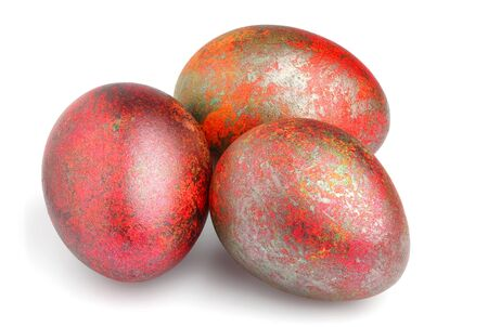 Painted Easter eggs isolated.Handmade.Easter holiday. Stock Photo