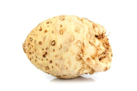 Celery root vegetable isolated on white background.