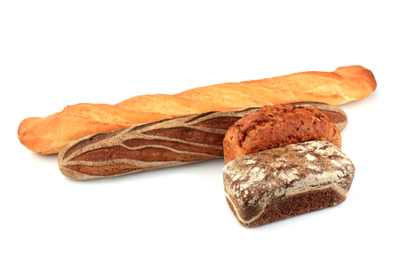 Composition assorted breads isolated on a white background. Stock Photo