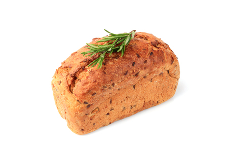 Fresh baked bread with rosemary branch isolated on white background.