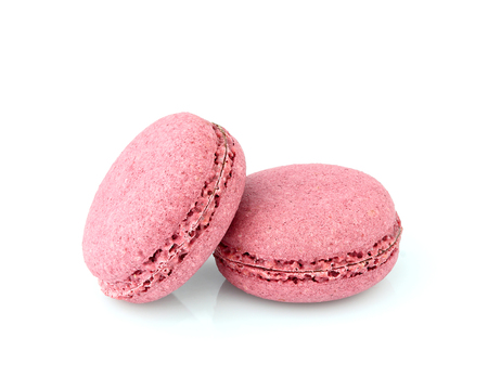 Pink Macaroons isolated on white background. Stock Photo