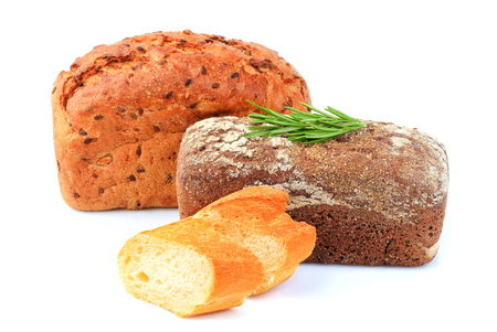 Assorted bread isolated on a white background. Stock Photo