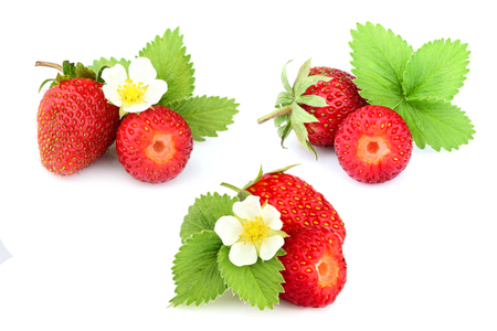 Collage. Natural homemade strawberry with strawberry leaves and flower isolated on white background.