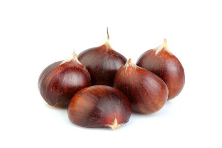 Chestnuts close-up on white background. Natural product. Stock Photo