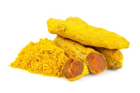 Turmeric root and powder isolated on white background. Stock Photo