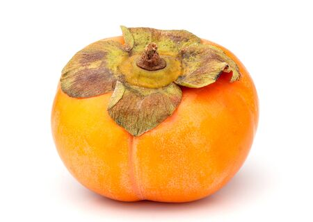 Ripe persimmon friut isolated on white background. Stock Photo