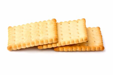 Cracker biscuits isolated on white background.Dry snack. Stock Photo