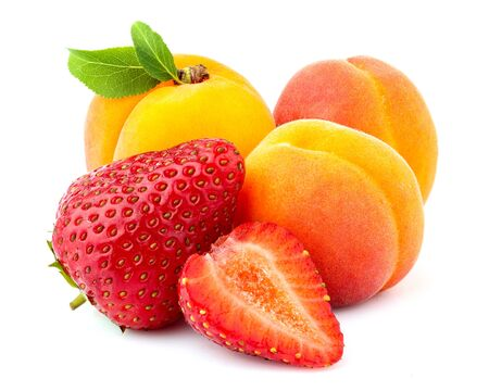 Fresh apricot and strawberry.Natural food isolated on white background. Stock Photo