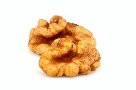 Walnuts peeled isolated on white background.