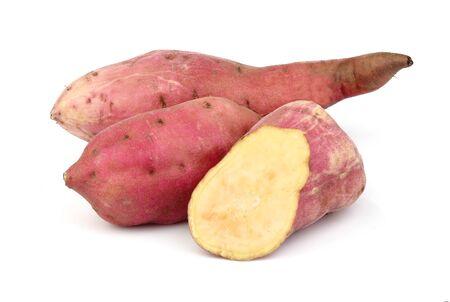 Sweet potato isolated on white background closeup.