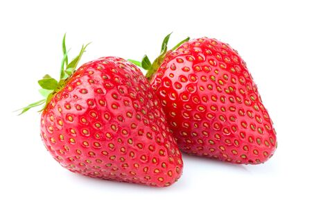 Natural strawberries isolated on white background.