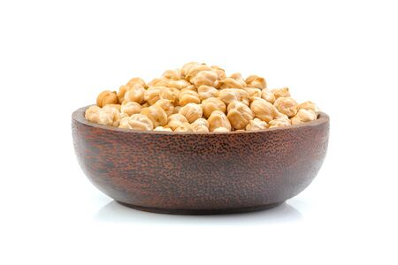 Chickpeas in a bowl isolated on white background.