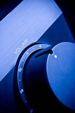 preamp: Home Theater System  Amplifier with blue light Stock Photo