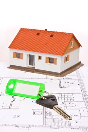 Architecture model house on a blueprint Stock Photo - 4446015