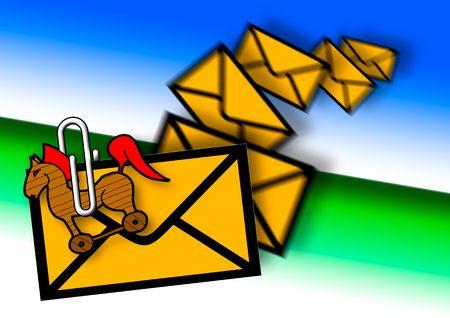 Troijan attachement in E-mail, junk mail Stock Photo - 4446779