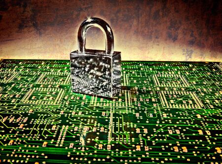 lock and circuit board, concept of online safety Stock Photo - 4447296