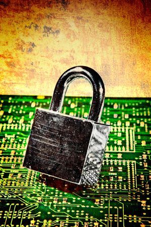 lock and circuit board, concept of online safety Stock Photo - 4447300