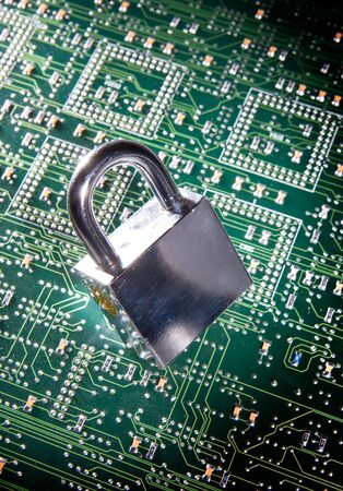 lock and circuit board, concept of online safety Stock Photo - 4447257