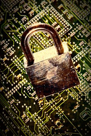 lock and circuit board, concept of online safety Stock Photo - 4447293