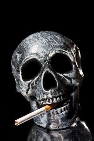 human body substance: human skull smoking a cigarette
