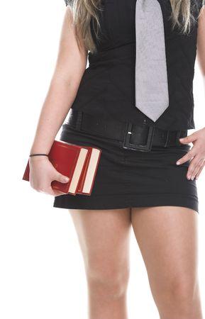 uniform skirt: School girl on white