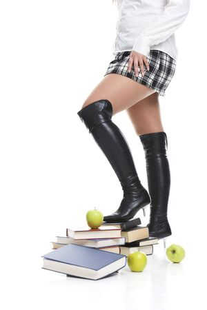 sexy schoolgirl: High heels on books