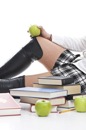 sexy food: School girl on white