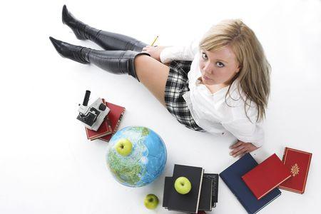School Mädchen auf weiß Standard-Bild