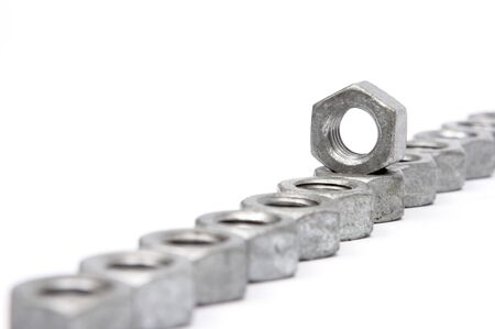 Nuts and Bolts on a white background photo