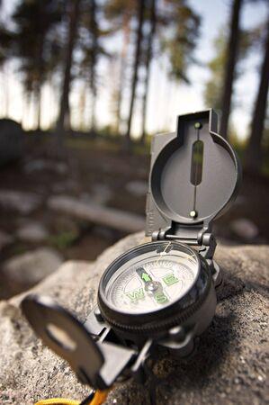 closeups: Compass on rock Stock Photo