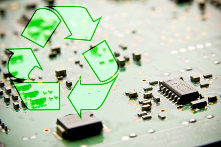 Recycle circuit boards. Concept of electronic junk photo