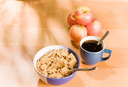 bowl of cereal and coffee photo