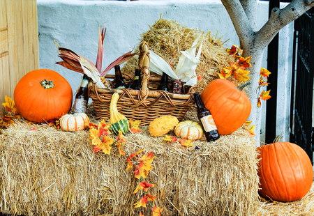 root beer: Some fall decorations with pumpkins and root beer at the Old Town in San Diego.