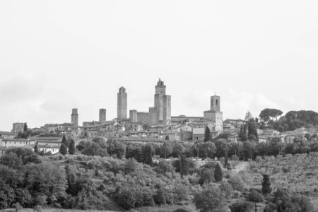 rural skyline: View of the ancient town of San Gimignano in Tuscany, Italy Stock Photo