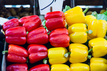 the merchant of venice: Red and yellow peppers on a stall in a market od Venice Stock Photo