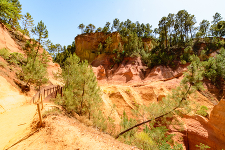 roussillon: View of the ocher path in the park of Roussillon, France