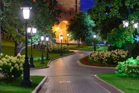 Night view of a path in Alexandrovsky Garden near the Kremlin in Moscow