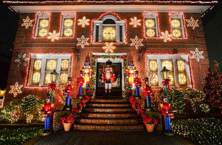 BROOKLYN, NEW YORK - DECEMBER 31, 2015 - Christmas decoration of a house in Dykers Height, New York City