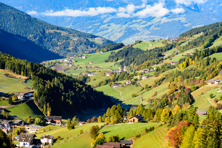 View of Funes valley in autumn