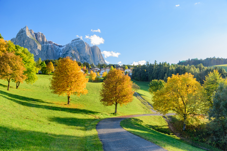 View of colors of Dolomites in autumn