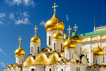 The orthodox cathdral with its golden domes inside the Kremlin in Moscow Stock Photo