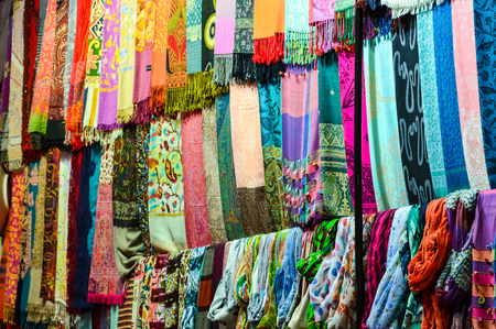 Colourful silk scarfs in a market stall in the Grand Bazaar in Istanbul, Turkey