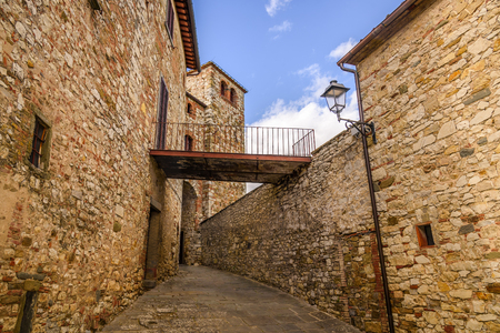 RADDA IN CHIANTI, ITALY - APRIL 17, 2017 - View of the lovely and famous town of Radda in the heart of the Chianti wine region, near the city of Siena. Stock Photo