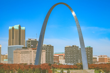 illinois river: ST. LOUIS, MISSOURI, USA - OCTOBER 18, 2012 - The famous arc of St. Louis city from the street.