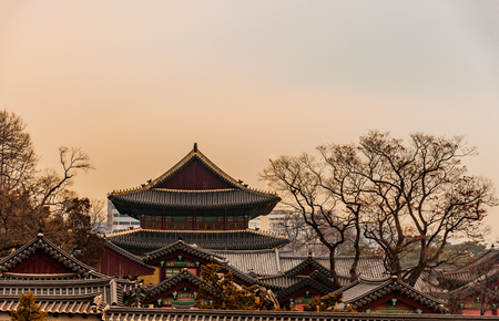 royal: View of Changdeokgung Palace buildings complex in Seoul from the street