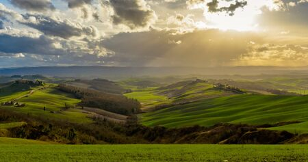 Aerial view of the Crete Senesi, near Asciano, Tuscany at sunset