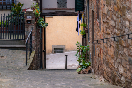 wine road: RADDA IN CHIANTI, ITALY - APRIL 17, 2017 - View of the lovely and famous town of Radda in the heart of the Chianti wine region, near the city of Siena.