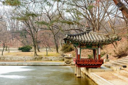 Changdeokgung Palace   Secret Garden Pagodas In Winter Season   Seoul,  Republic Of Korea Stock