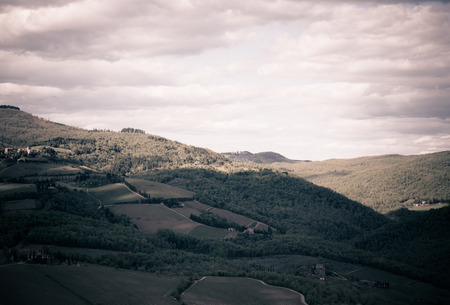 wine road: View of the countryside near the famous town of Radda in Chianti, Tuscany, Italy
